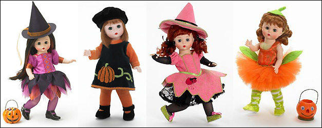 Куклы Wendy от Madame Alexander, Ull O'Treats, Pumpkin Pie, Witchy Web, Pumpkin Patch Pirouette