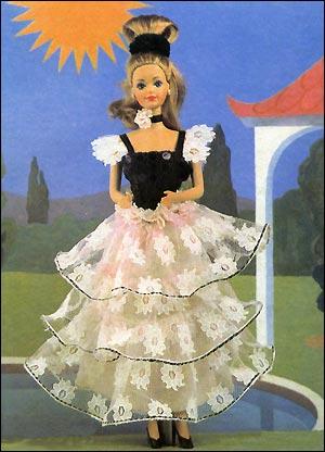 Черно-розовое платье для куклы Барби